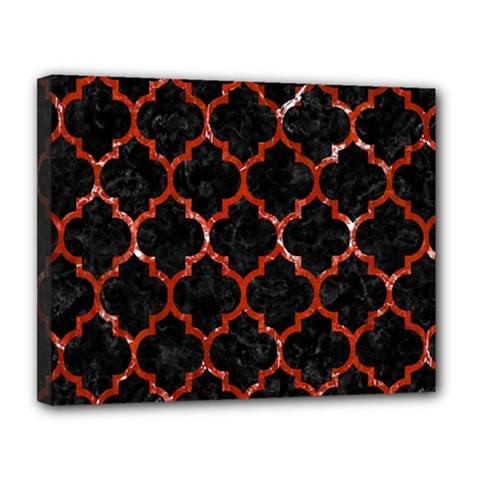 Tile1 Black Marble & Red Marble Canvas 14  X 11  (stretched) by trendistuff