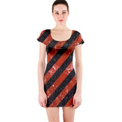 Stripes3 Black Marble & Red Marble Short Sleeve Bodycon Dress by trendistuff