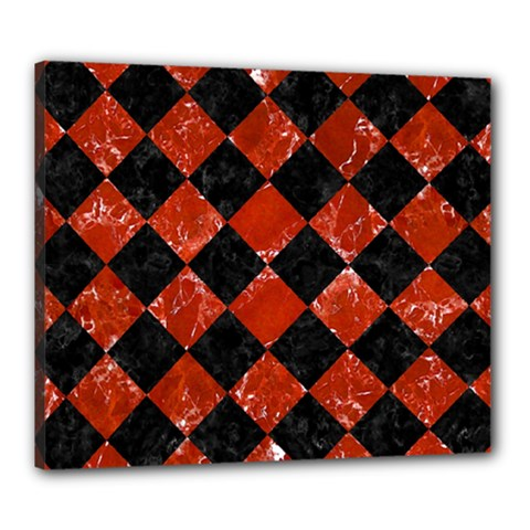 Square2 Black Marble & Red Marble Canvas 24  X 20  (stretched) by trendistuff