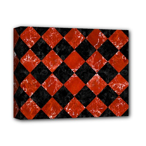 Square2 Black Marble & Red Marble Deluxe Canvas 14  X 11  (stretched) by trendistuff
