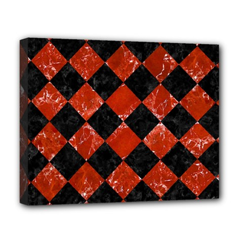 Square2 Black Marble & Red Marble Deluxe Canvas 20  X 16  (stretched) by trendistuff