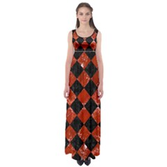 Square2 Black Marble & Red Marble Empire Waist Maxi Dress by trendistuff