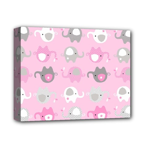 Animals Elephant Pink Cute Deluxe Canvas 14  X 11  by Jojostore