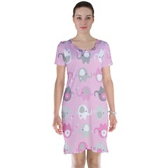 Animals Elephant Pink Cute Short Sleeve Nightdress by Jojostore