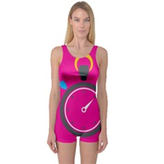 Alarm Clock Houre One Piece Boyleg Swimsuit