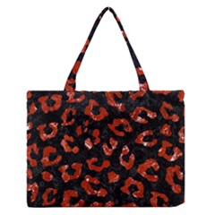 Skin5 Black Marble & Red Marble (r) Medium Zipper Tote Bag by trendistuff