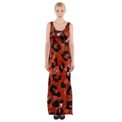 Skin5 Black Marble & Red Marble Maxi Thigh Split Dress by trendistuff