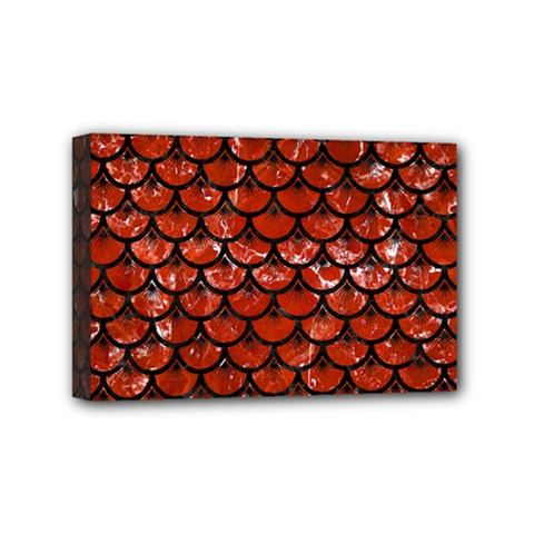 Scales3 Black Marble & Red Marble (r) Mini Canvas 6  X 4  (stretched) by trendistuff