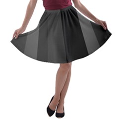 Black Minimalistic Gray Stripes A Line Skater Skirt