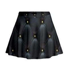 Black Skin Mini Flare Skirt