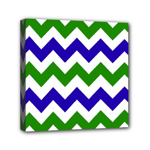 Blue And Green Chevron Pattern Mini Canvas 6  X 6  by Jojostore