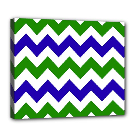 Blue And Green Chevron Pattern Deluxe Canvas 24  X 20   by Jojostore
