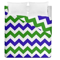 Blue And Green Chevron Pattern Duvet Cover Double Side (queen Size) by Jojostore