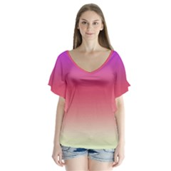Blue Pink Purple Red Flutter Sleeve Top by Jojostore