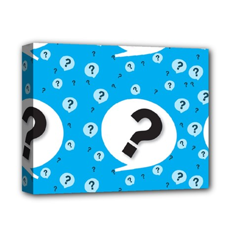 Blue Question Mark Deluxe Canvas 14  X 11  by Jojostore