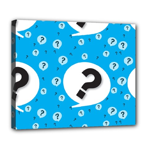 Blue Question Mark Deluxe Canvas 24  X 20   by Jojostore