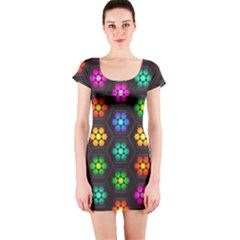 Pattern Background Colorful Design Short Sleeve Bodycon Dress by Amaryn4rt