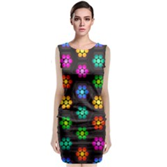 Pattern Background Colorful Design Sleeveless Velvet Midi Dress