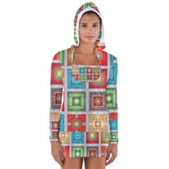 Tiles Pattern Background Colorful Women s Long Sleeve Hooded T-shirt