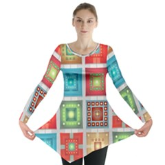 Tiles Pattern Background Colorful Long Sleeve Tunic  by Amaryn4rt