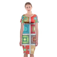 Tiles Pattern Background Colorful Classic Short Sleeve Midi Dress by Amaryn4rt