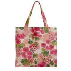 Aquarelle Pink Flower  Zipper Grocery Tote Bag by Brittlevirginclothing