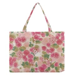 Aquarelle Pink Flower  Medium Zipper Tote Bag by Brittlevirginclothing