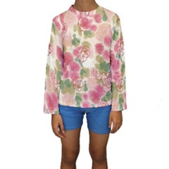 Aquarelle Pink Flower  Kids  Long Sleeve Swimwear by Brittlevirginclothing