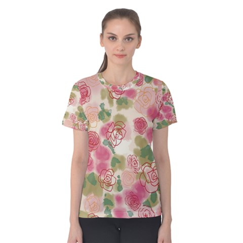 Aquarelle Pink Flower  Women s Cotton Tee by Brittlevirginclothing