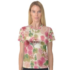 Aquarelle Pink Flower  Women s V Neck Sport Mesh Tee by Brittlevirginclothing