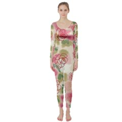 Aquarelle Pink Flower  Long Sleeve Catsuit by Brittlevirginclothing