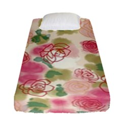 Aquarelle Pink Flower  Fitted Sheet (single Size) by Brittlevirginclothing