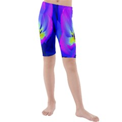 Blue And Purple Flowers Kids  Mid Length Swim Shorts
