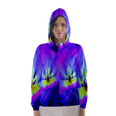 Blue And Purple Flowers Hooded Wind Breaker (women)