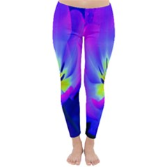 Blue And Purple Flowers Classic Winter Leggings