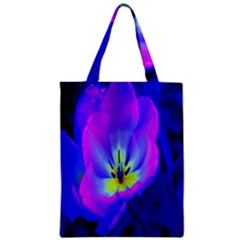 Blue And Purple Flowers Zipper Classic Tote Bag