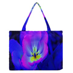 Blue And Purple Flowers Medium Zipper Tote Bag by Jojostore