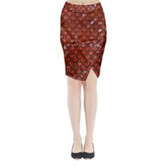Scales2 Black Marble & Red Marble (r) Midi Wrap Pencil Skirt