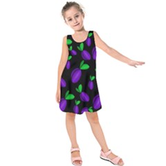 Plums Pattern Kids  Sleeveless Dress by Valentinaart