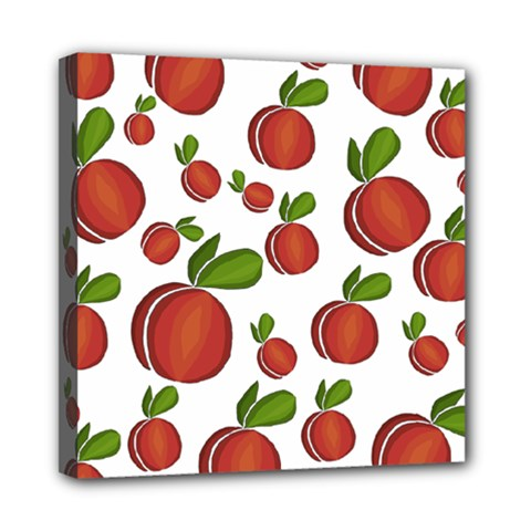 Peaches Pattern Mini Canvas 8  X 8  by Valentinaart