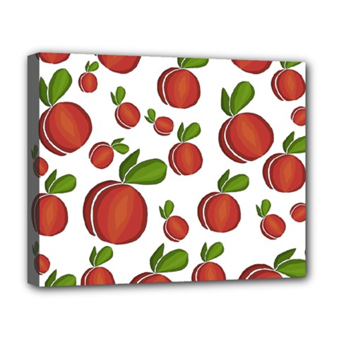Peaches Pattern Deluxe Canvas 20  X 16   by Valentinaart