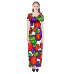 Peaches And Plums Short Sleeve Maxi Dress by Valentinaart