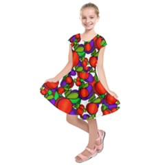 Peaches And Plums Kids  Short Sleeve Dress by Valentinaart