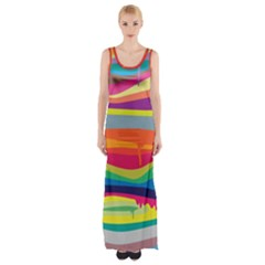 Colorfull Rainbow Maxi Thigh Split Dress by Jojostore
