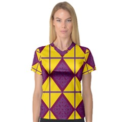 Complexion Purple Yellow Women s V Neck Sport Mesh Tee