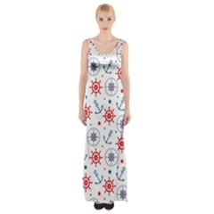 Compass Anchor Maxi Thigh Split Dress by Jojostore