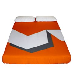 Cute Orange Chevron Fitted Sheet (king Size) by Jojostore