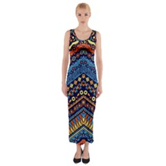 Cute Hand Drawn Ethnic Pattern Fitted Maxi Dress by Jojostore
