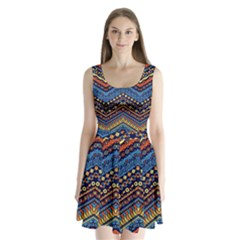 Cute Hand Drawn Ethnic Pattern Split Back Mini Dress  by Jojostore