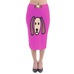 Face Dog Velvet Midi Pencil Skirt